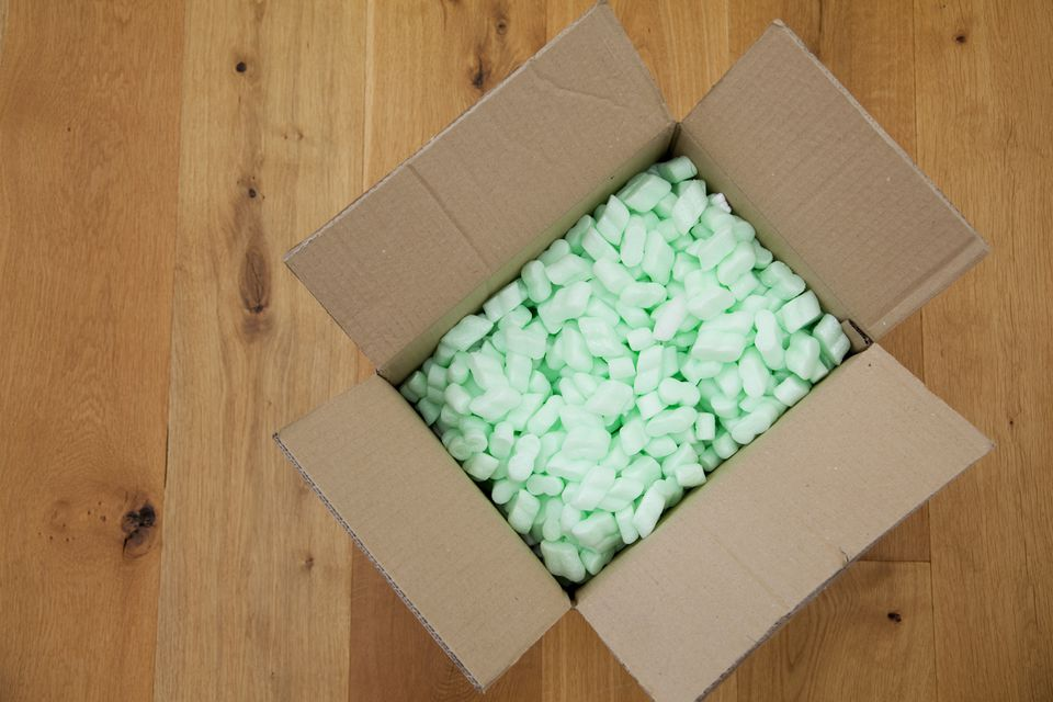 Cardboard box with packing peanuts