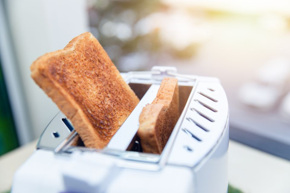 Toasted bread in a 2-slice toaster