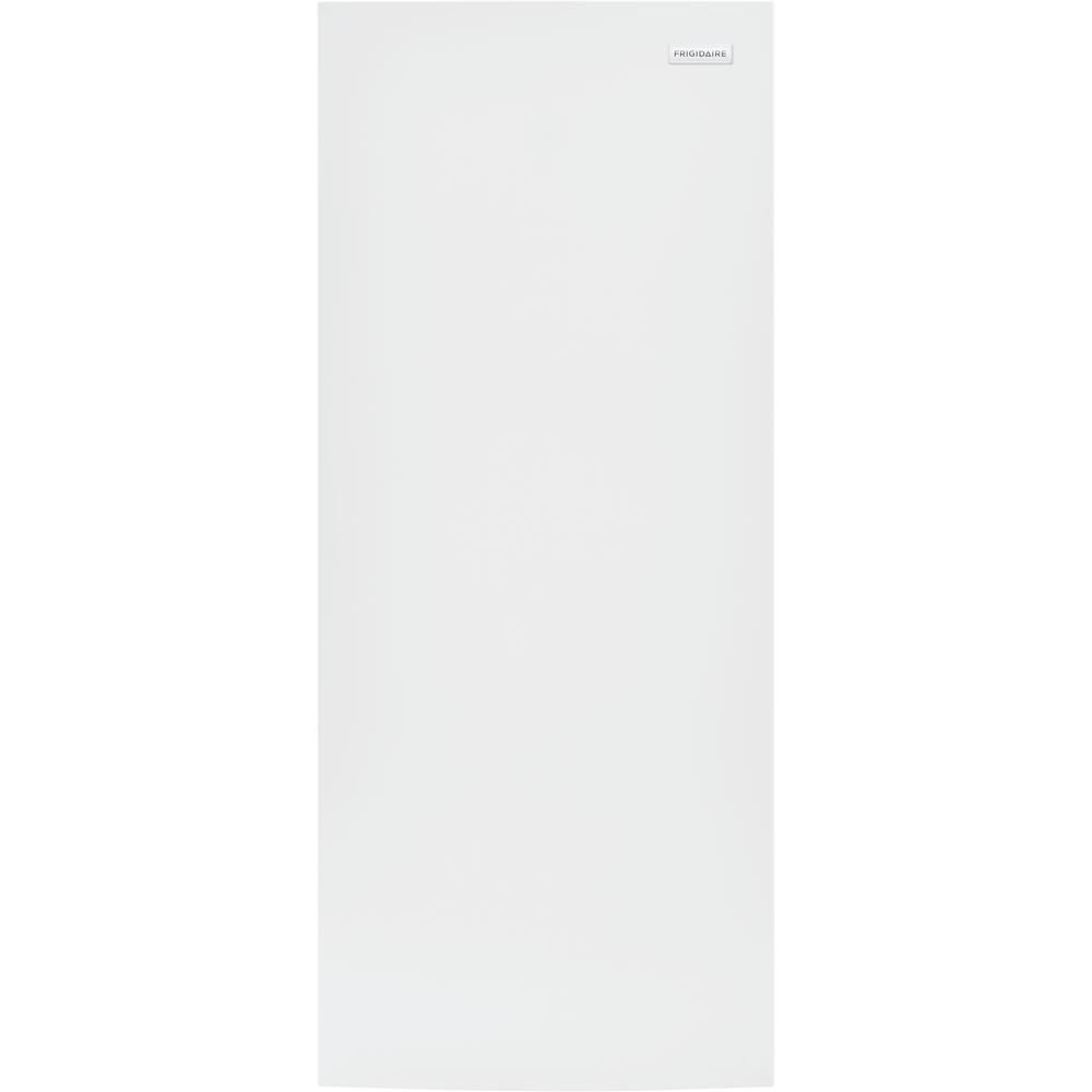 The Frigidaire FFFU16F2VW 16 cu. ft. Frost Free Upright Freezer in White has a reversible door for easy access.