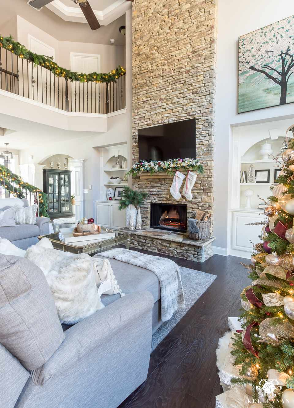 great room with christmas decor