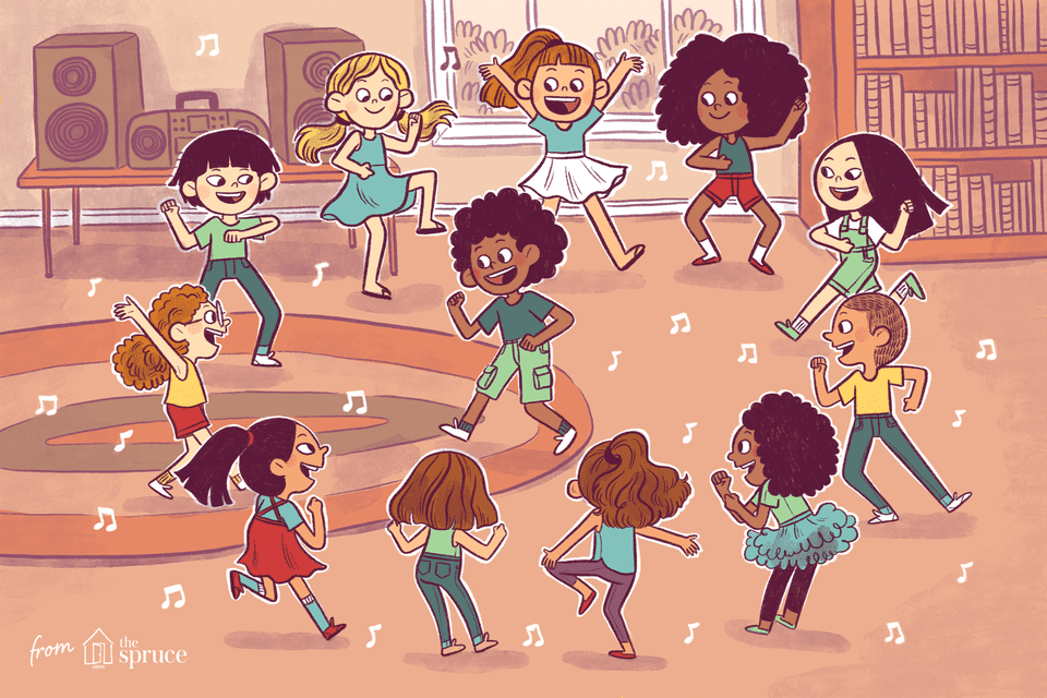 Illustration of children dancing at a party