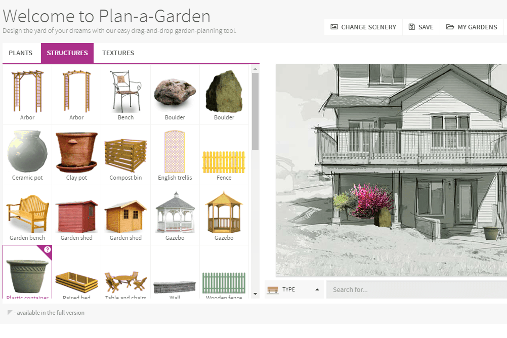Screenshot of the BHG.com's Plan-A-Garden website