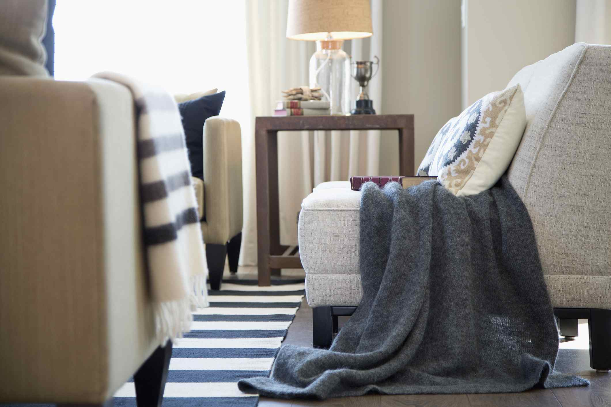 living room with throws on the furniture