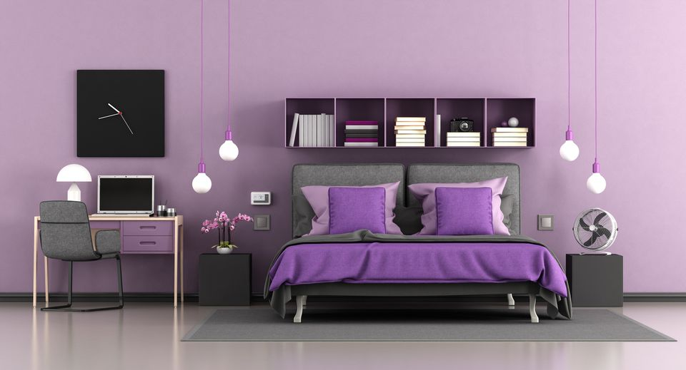 Purple bed, bedroom, and desk