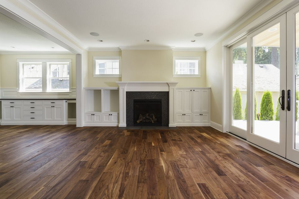 Dark hardwood floor in living room.
