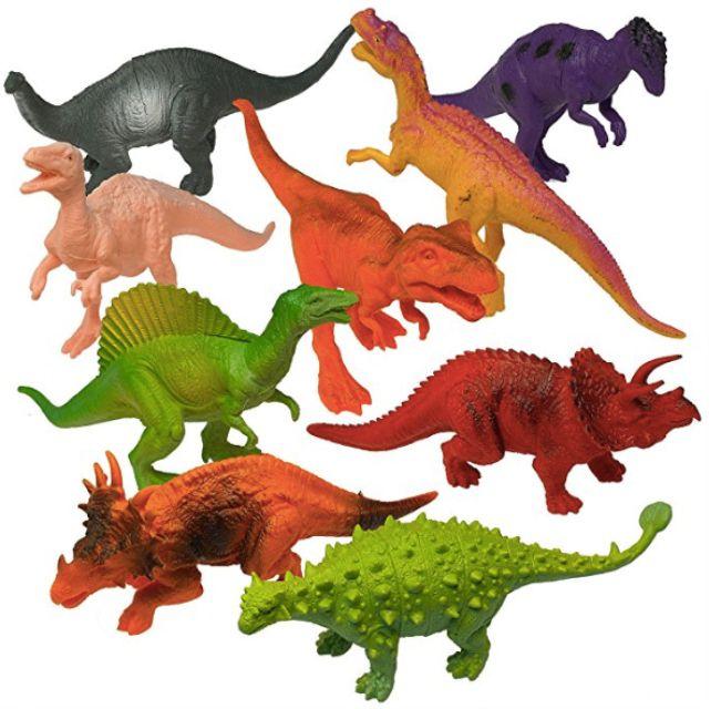 Prextex Plastic Assorted Dinosaur Figures With Book