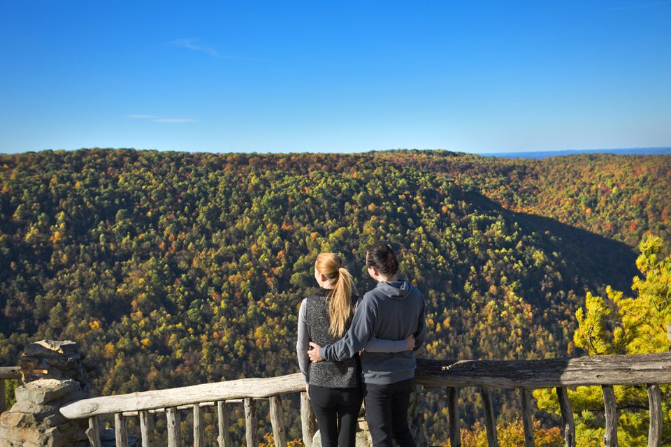 Couple viewing West Virginia mountains