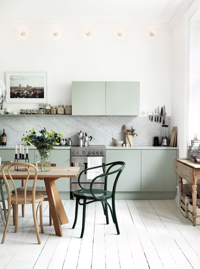 pale green kitchen