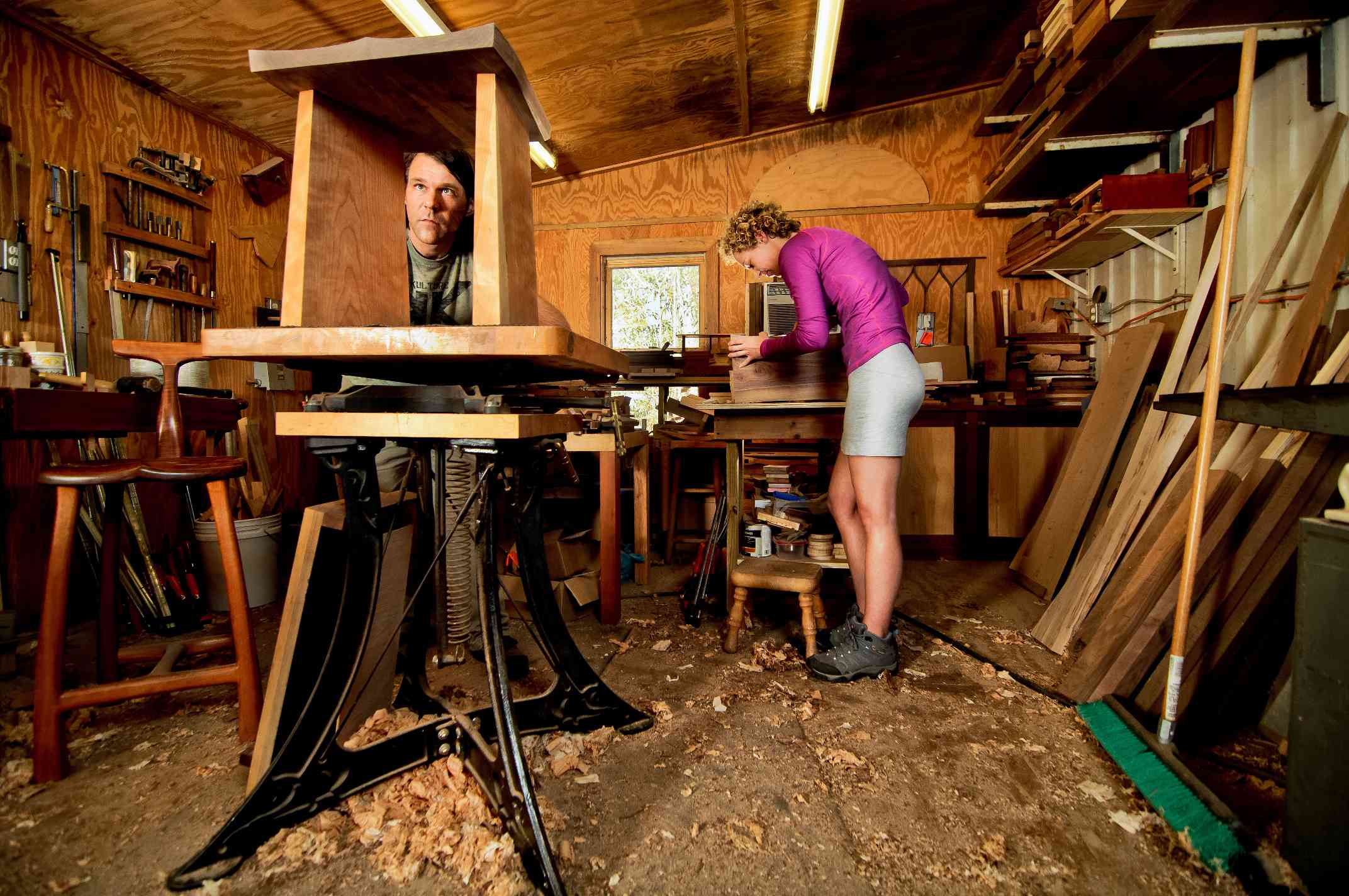 Katie and Joseph in their Workshop
