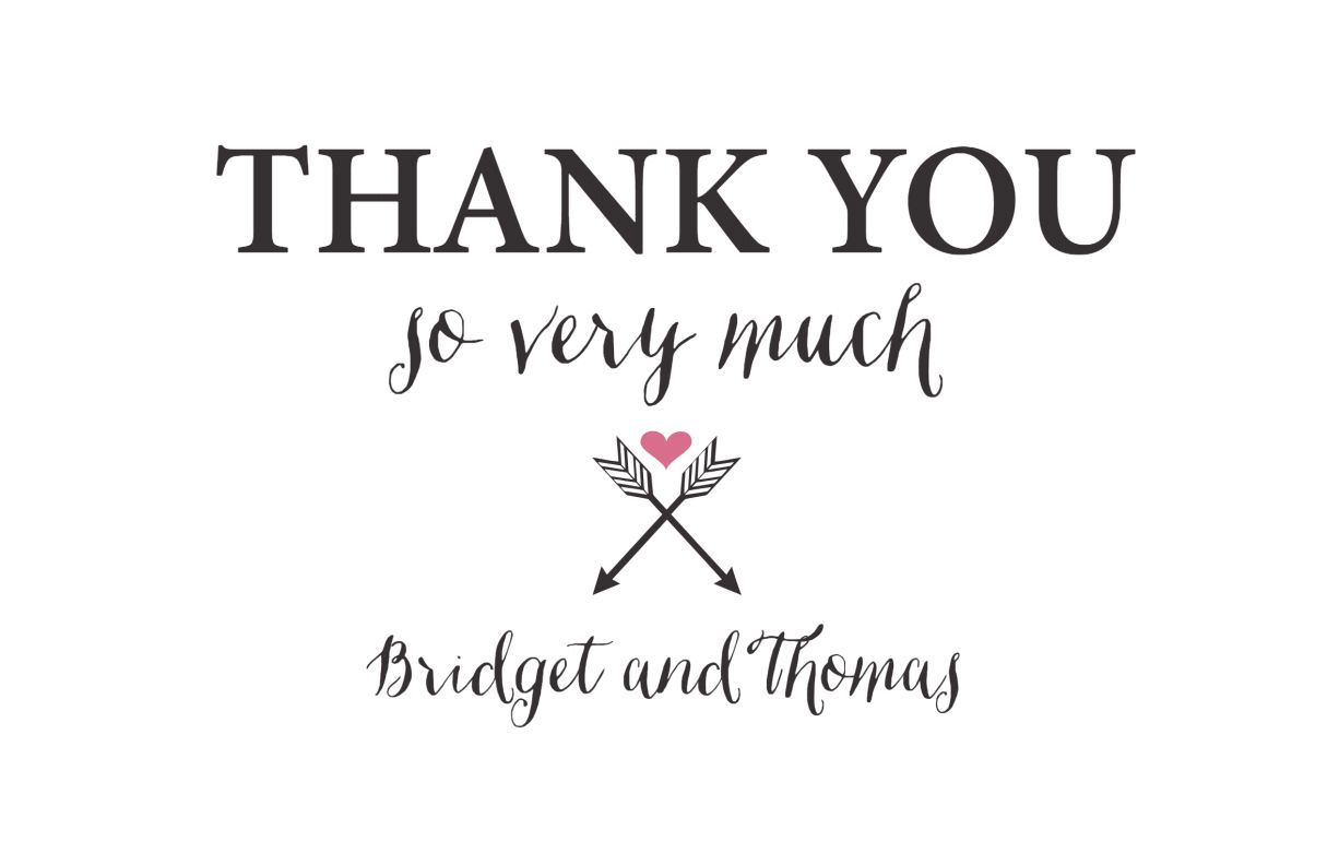 A Wedding Thank You Card In Black And Pink