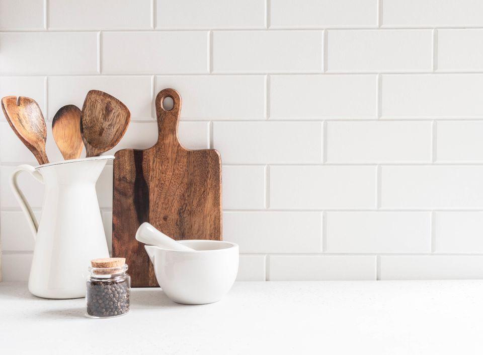 Kitchen background with kitchen utensils