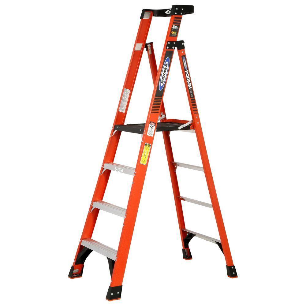 Werner 10 ft. Reach Fiberglass Podium Ladder