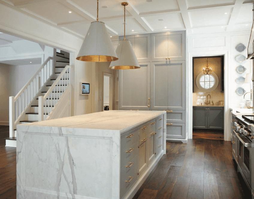 Marble recessed kitchen island