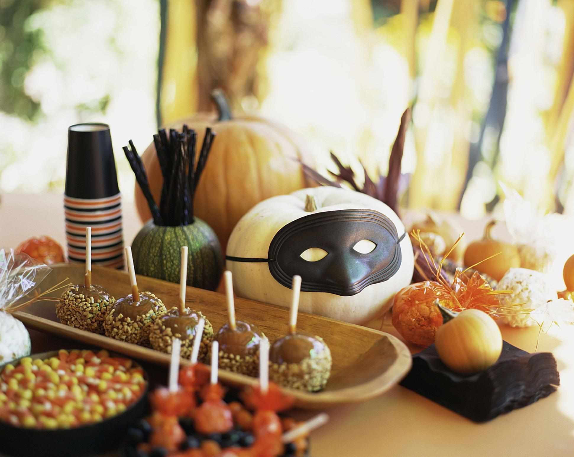 Halloween food and table decorations.