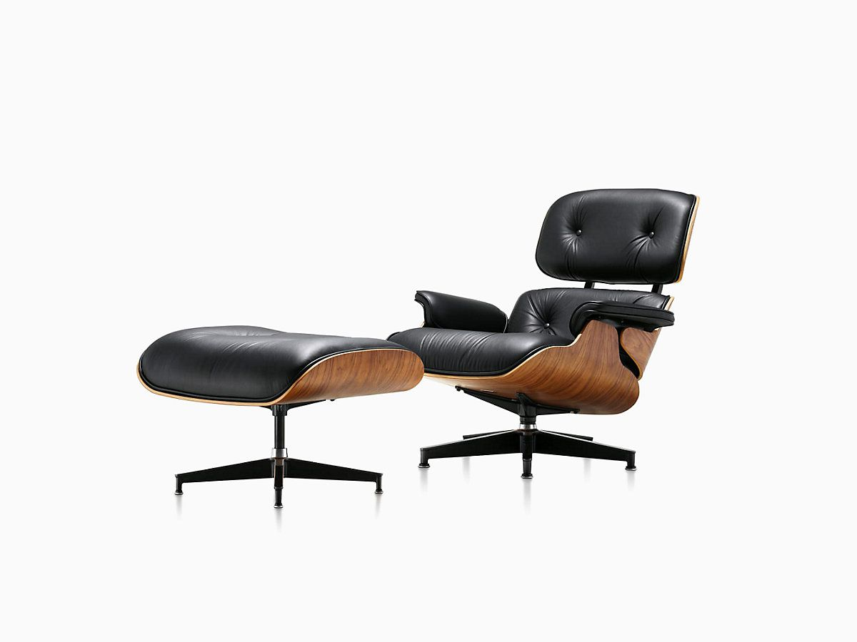 Traditional Eames chair and footrest