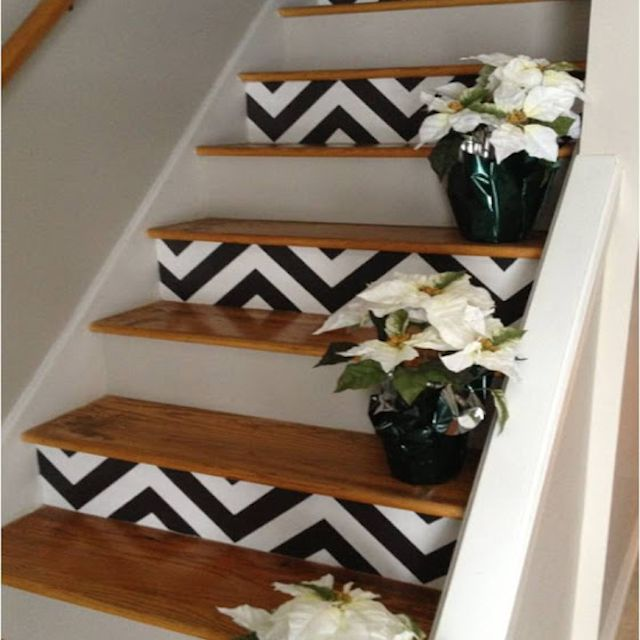 stairs painted black and white chevron