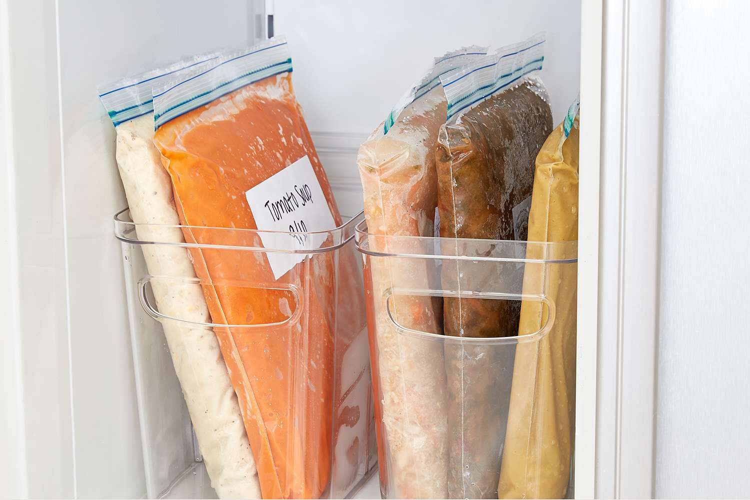 items flattened in freezer bags