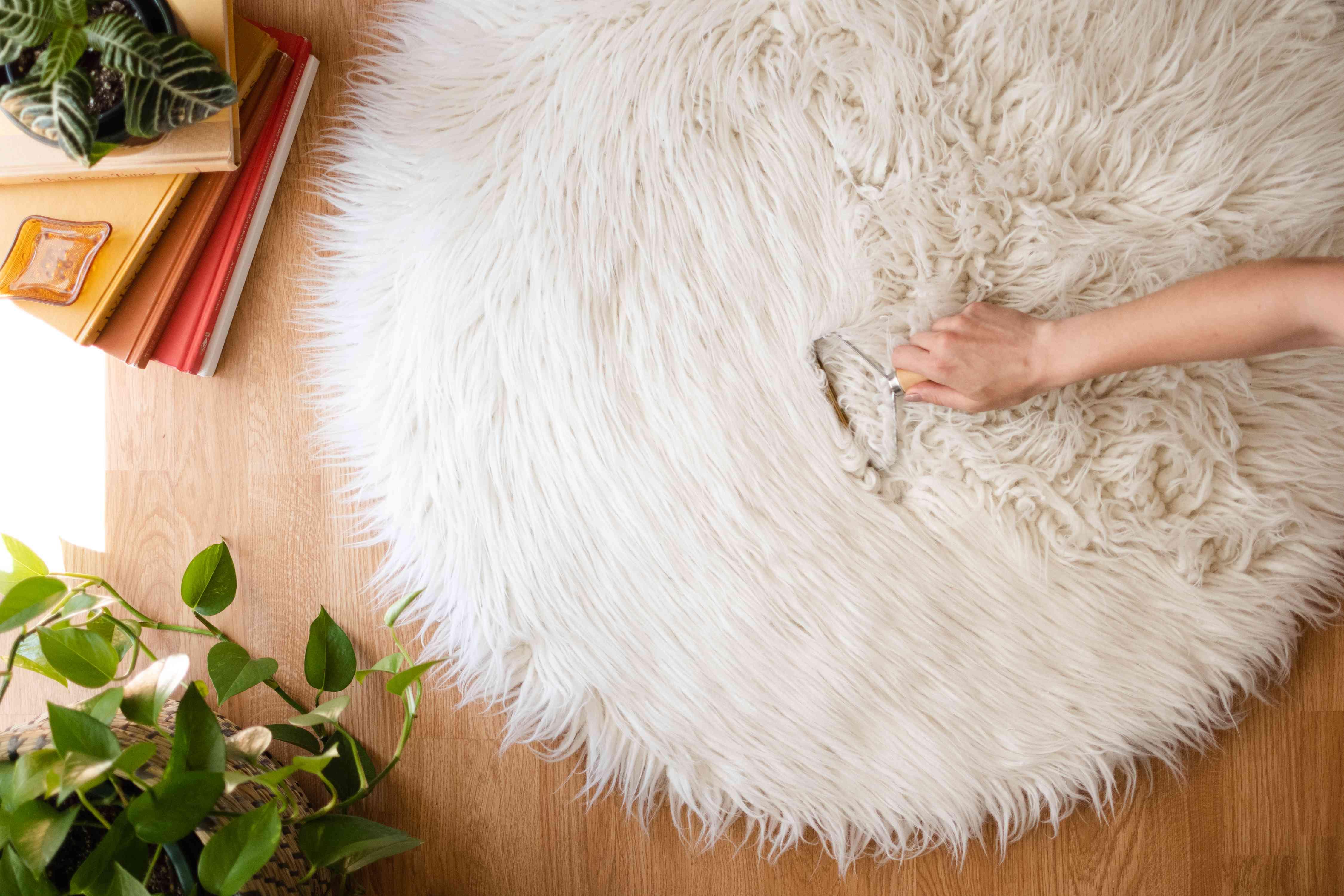 White shag rug pile lifted with carpet rake