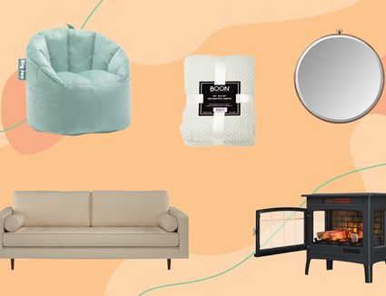 Bean bag chair, couch, fireplace and mirror on a colorful background