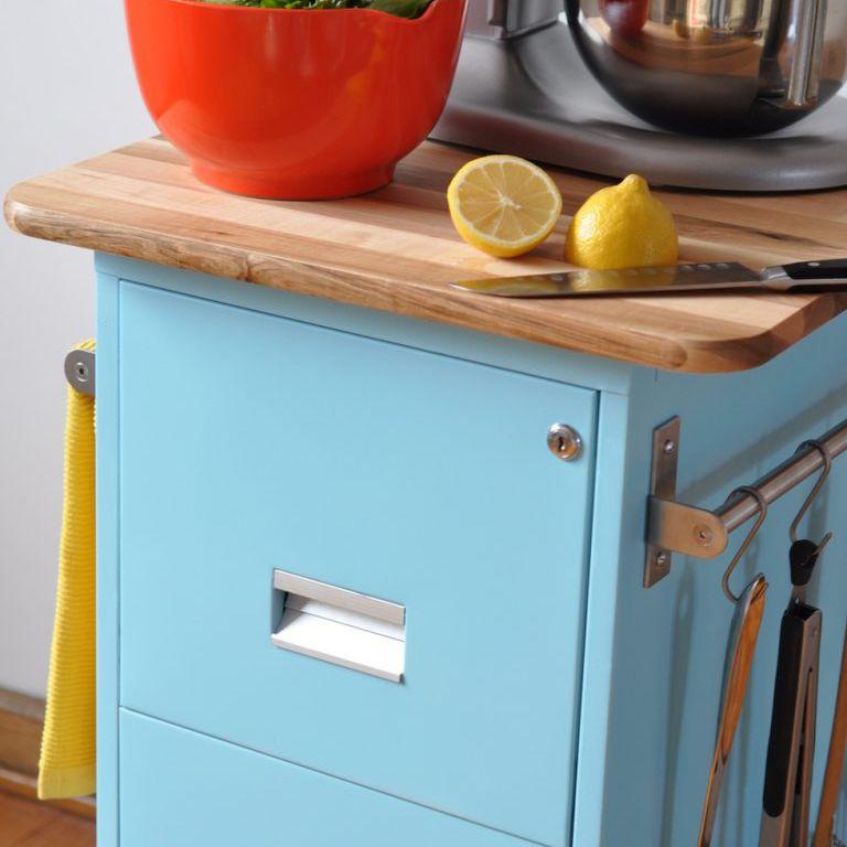 blue filing cabinet as an island