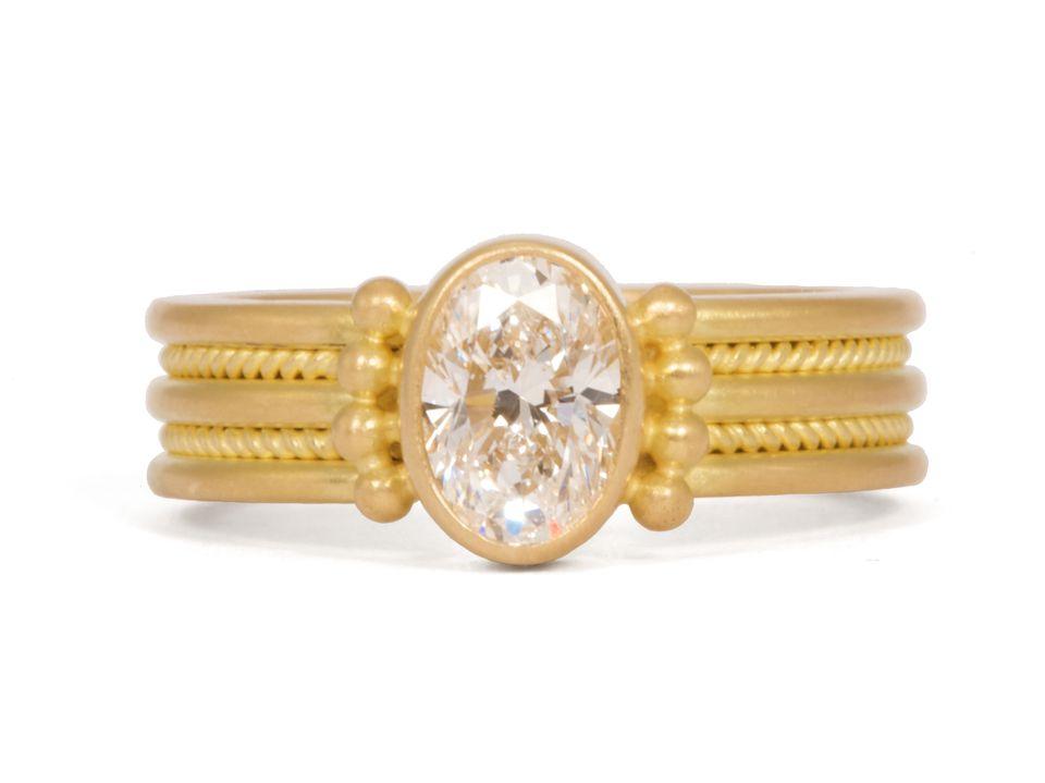 "Reinstein/Ross 20K peach gold ""Alternating Braid"" engagement ring with bezel-set colorless diamond"