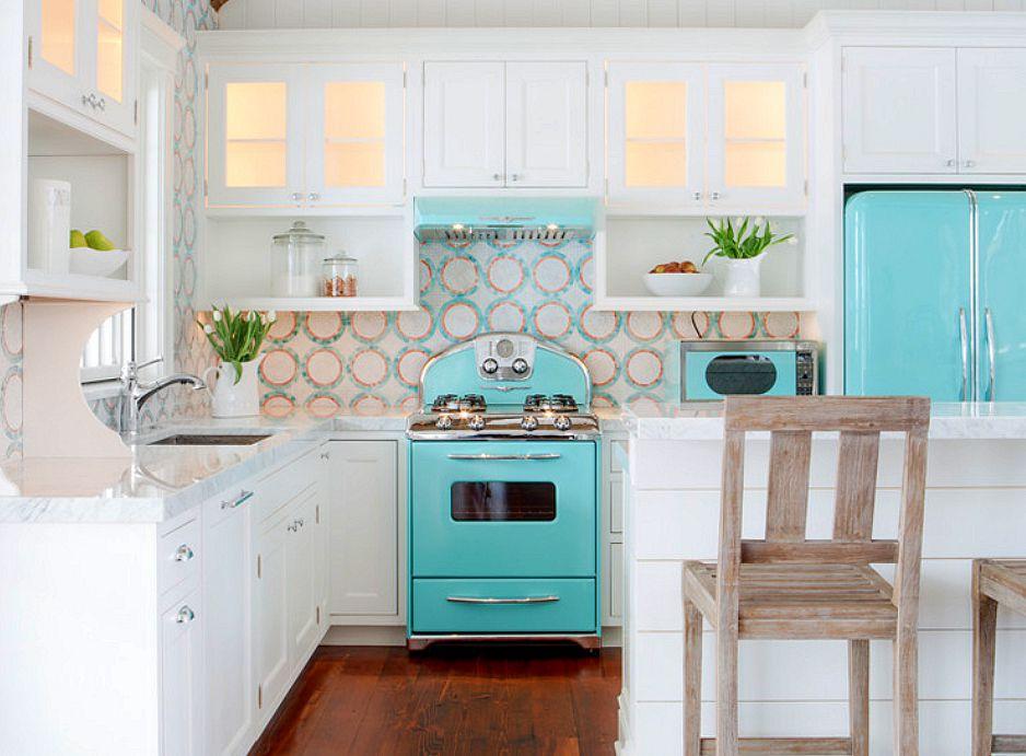 Kitchen with blue appliances