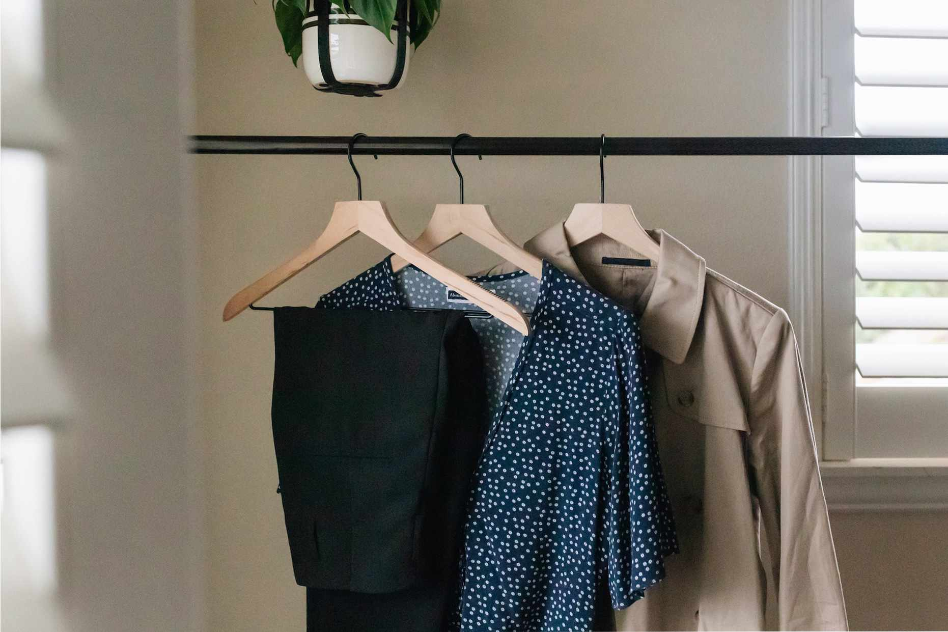 the next day's clothing hanging on a rack