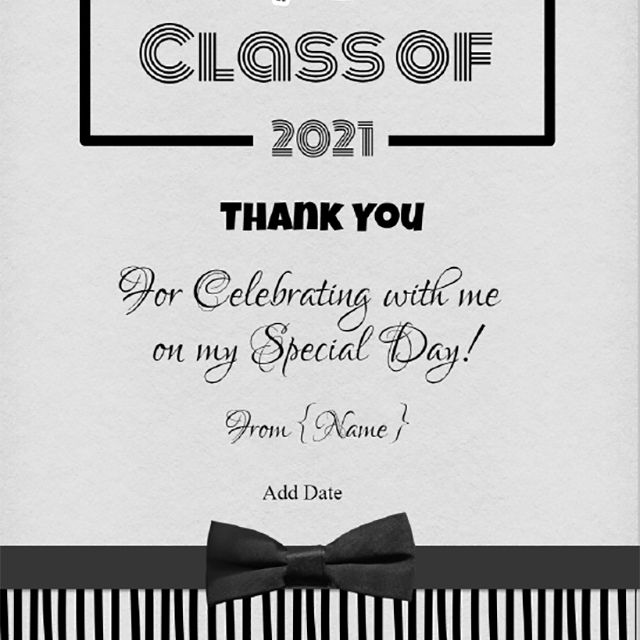 Gray and black graduation thank you card
