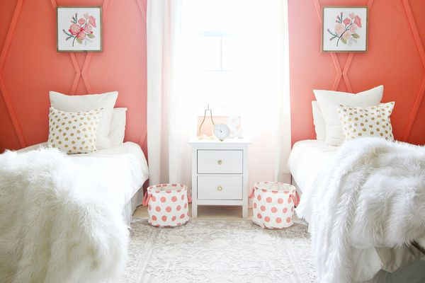Bedroom with coral paint