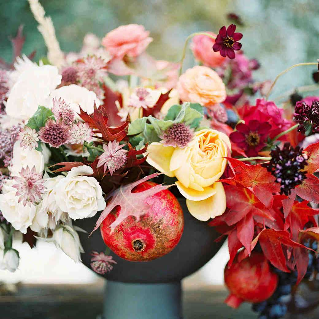 Floral and Pomegranate Fall Wedding Centerpiece