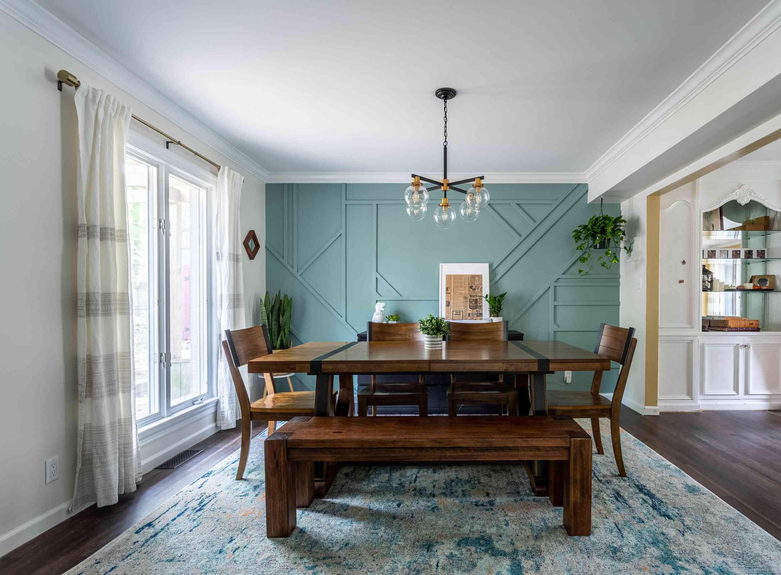 robins egg blue dining room