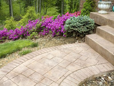 stamped concrete porch and walkway