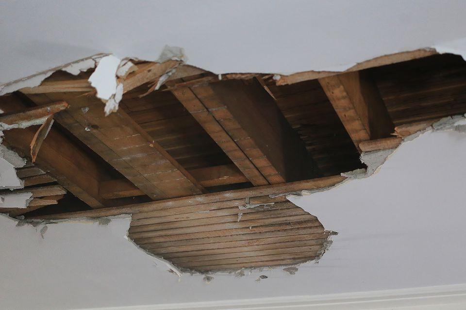 Ceiling drywall damage