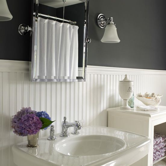 A beadboard bathroom with black walls and white beadboard