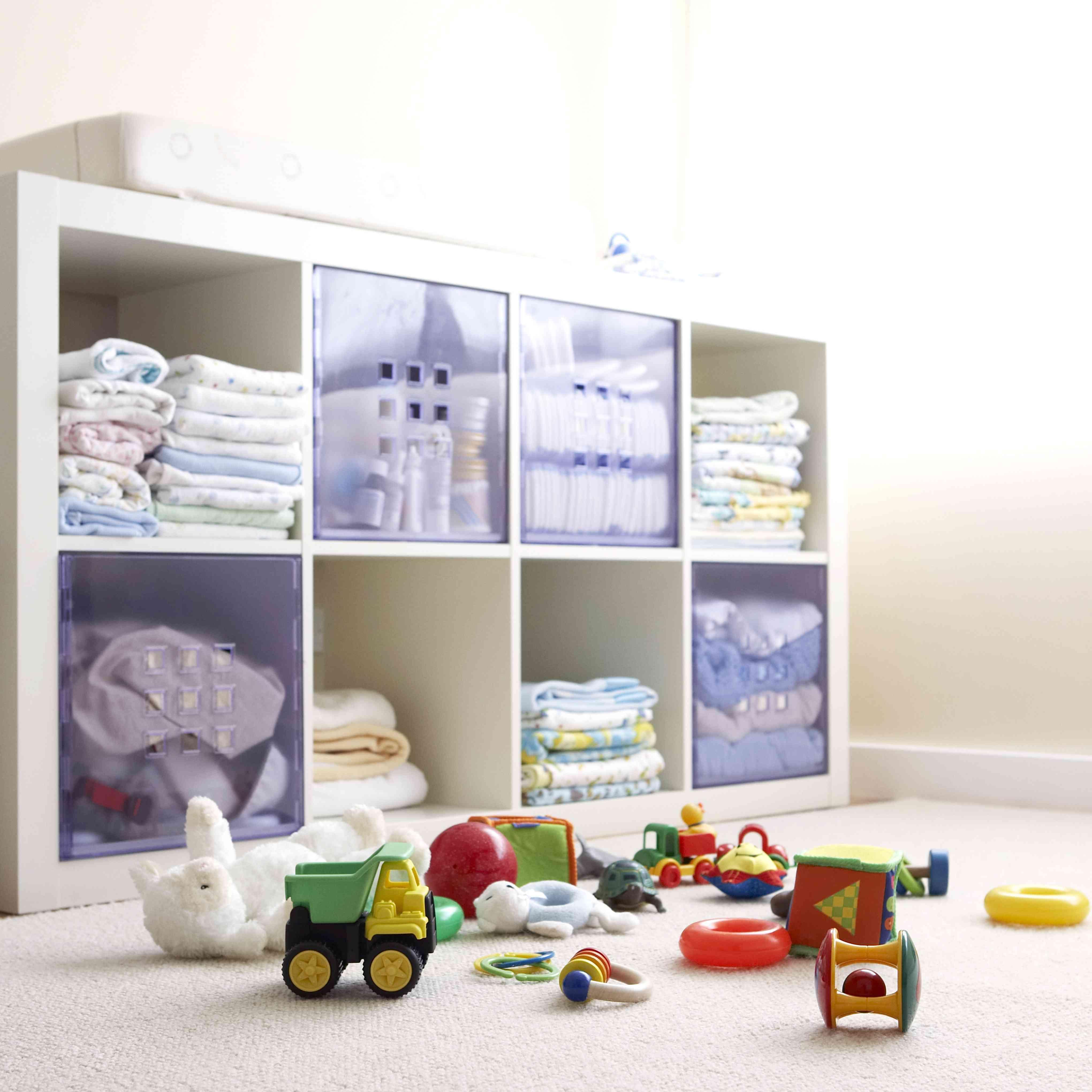 Toys on child's bedroom floor