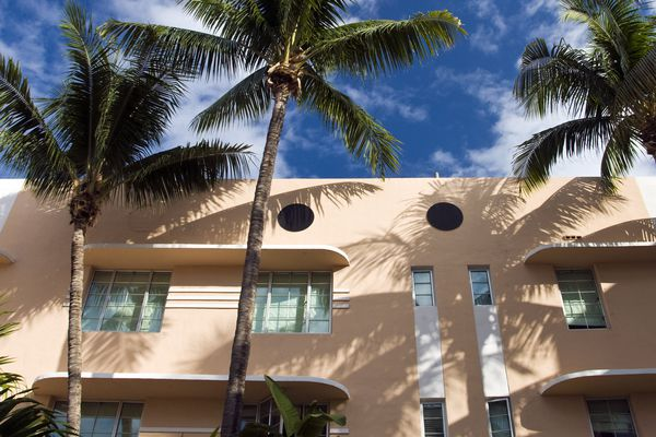 Salmon-pink is a common color on the Art Deco apartments of South Miami Beach, Florida