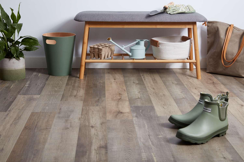 Hallway with laminate wood floor
