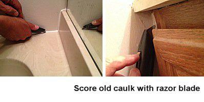 Scoring old caulk before removal