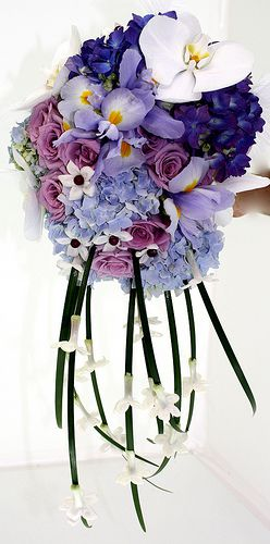 Blue and Purple Cascading Bouquet