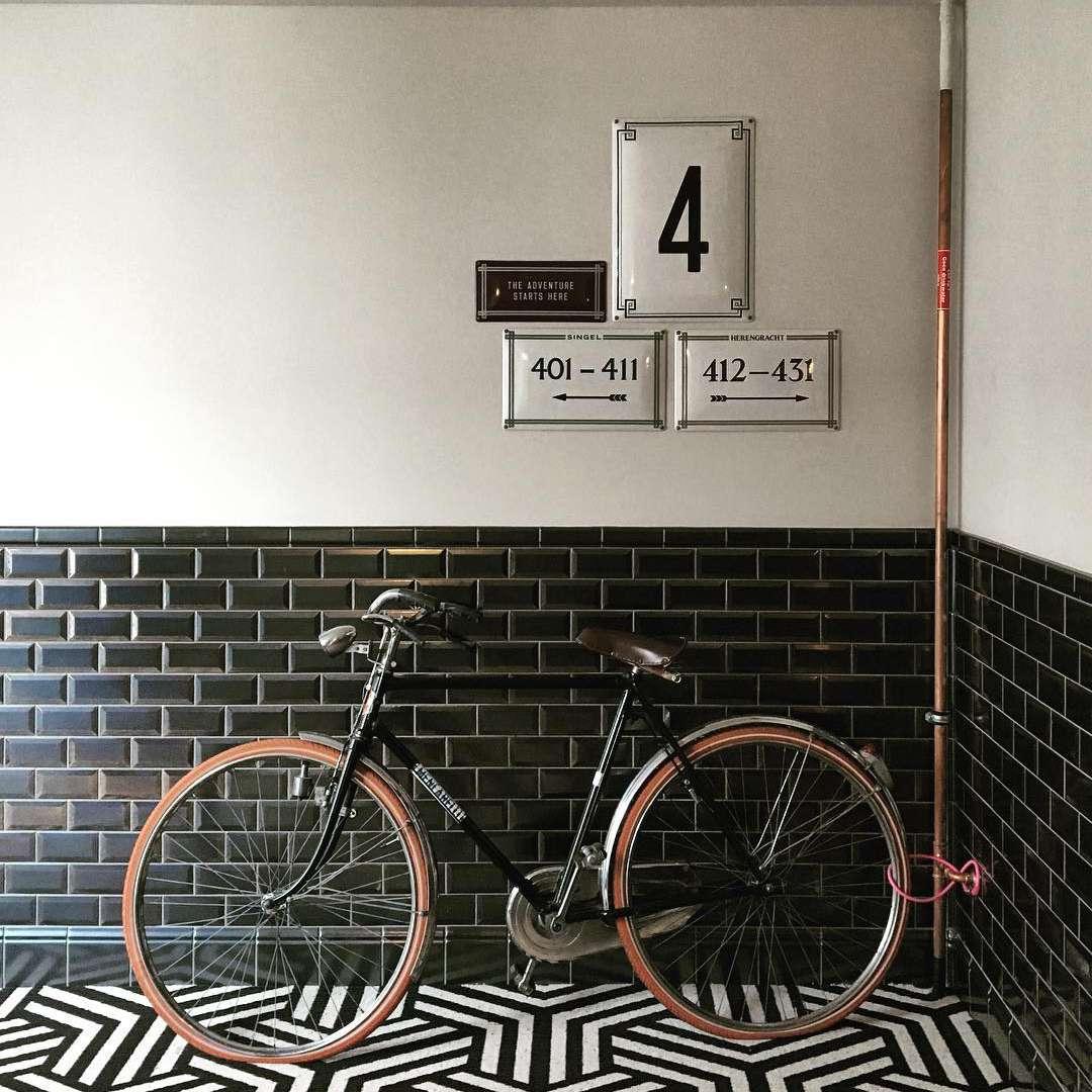Black subway tile entranceway