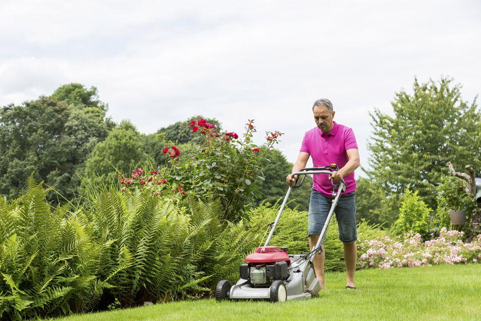 Man lawnmowing