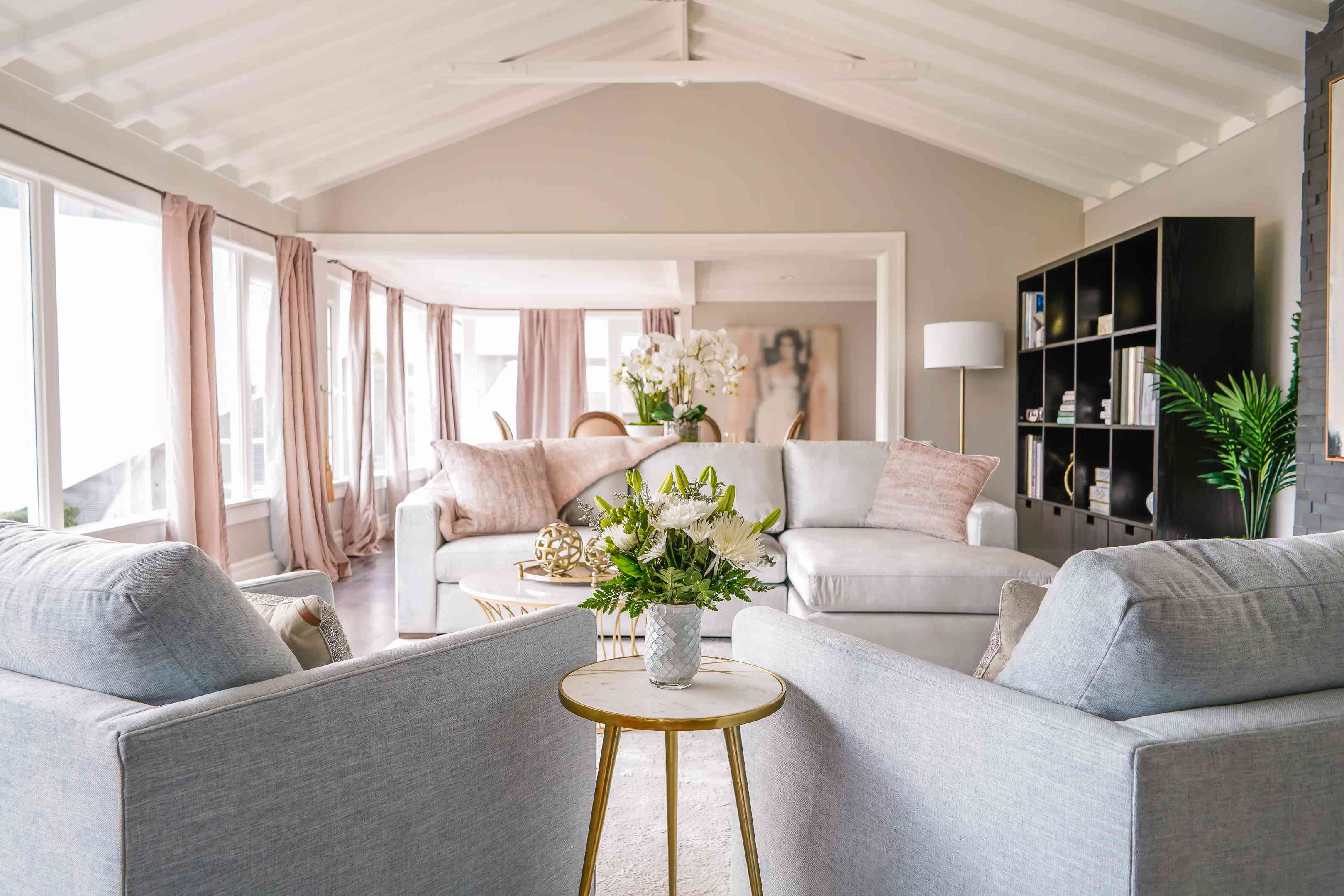 Chrishell Stause's redecorated living room that features items from TJMaxx and Marshalls