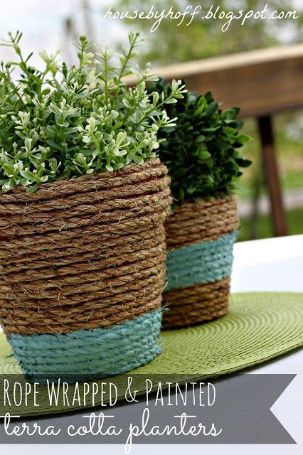 Diy Patio Decor Rope Wred Terracotta Pots