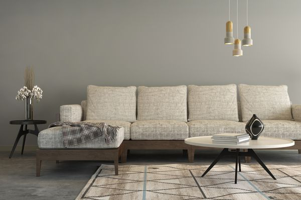 Contemporary beige living room with patterned rug.
