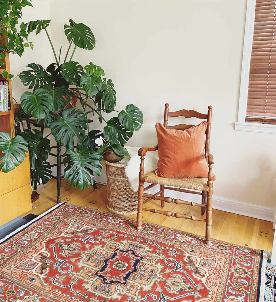 Living room with oriental rug