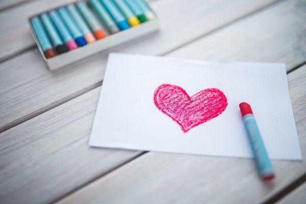 Crayon drawing heart