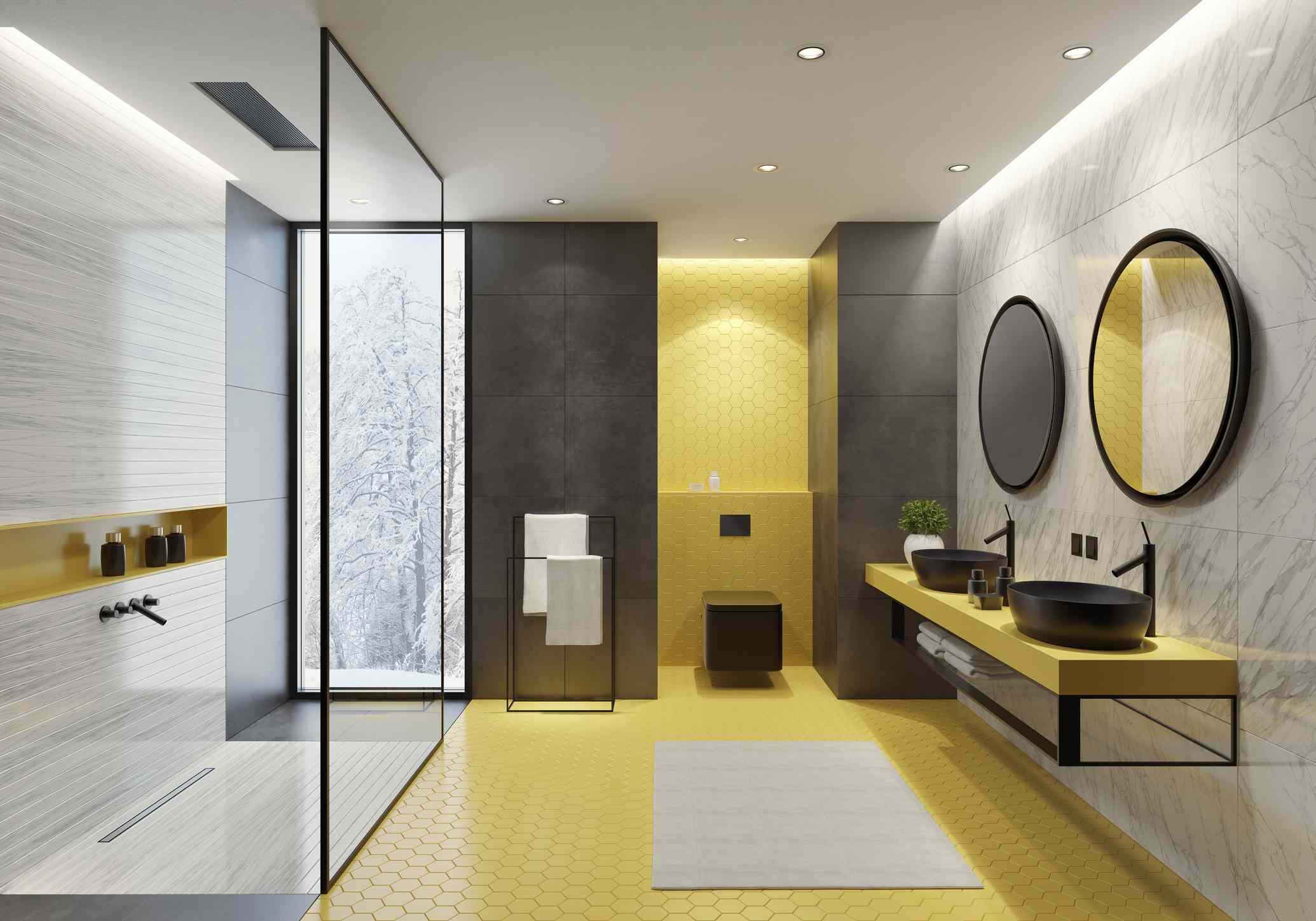 Yellow + black bathroom