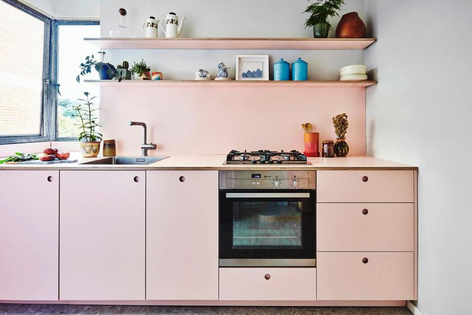 pale pink kitchen cabinets