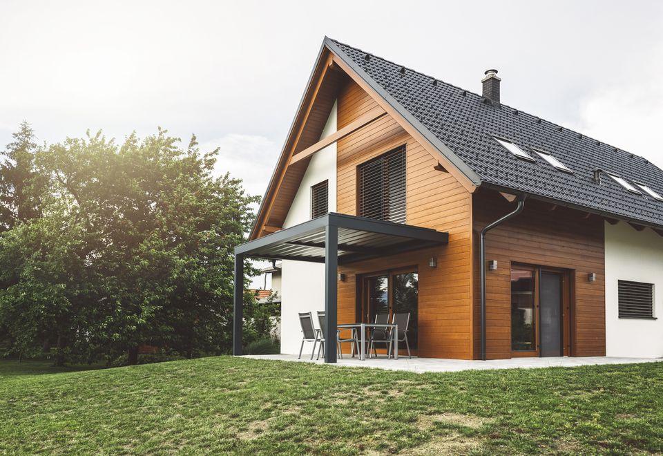 A modern brown and white garage.