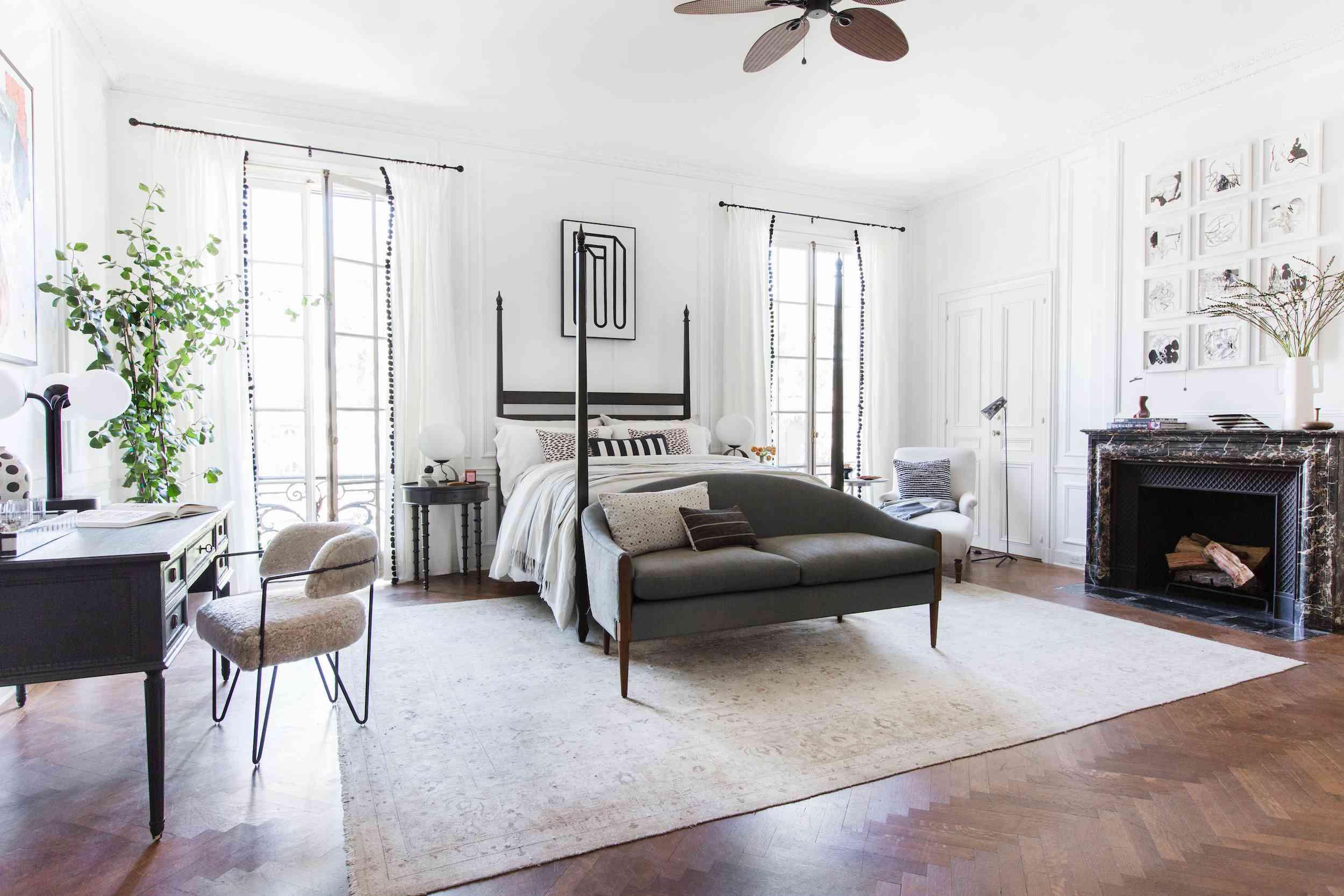 neutral bedroom designed like upscale hotel suite